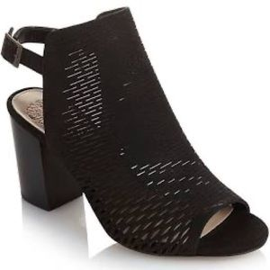 Vince Camuto Black Perforated Leather Booties.